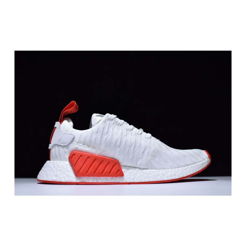 Adidas NMD R2 Primeknit in White and Red BA7253, Adidas