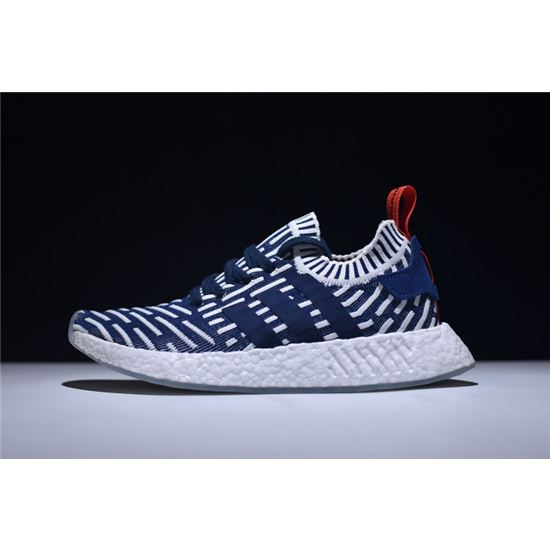 Men's Adidas NMD R2 Primeknit NavyWhite Red Shoes BB2909